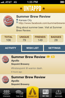 Untappd summer beer for seasonal beer reviews.