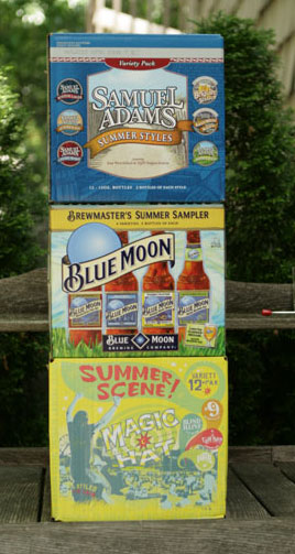 Summer Beer variety pack from Samuel Adams, Blue Moon, and Magic Hat.