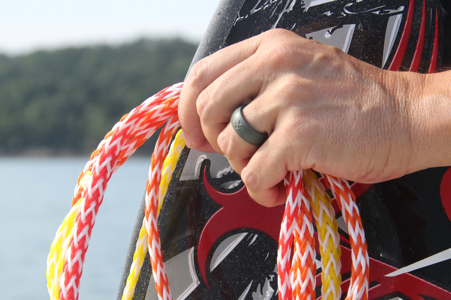 flexible wedding ring flexible wedding ring Water ski with a QALO flexible wedding ring