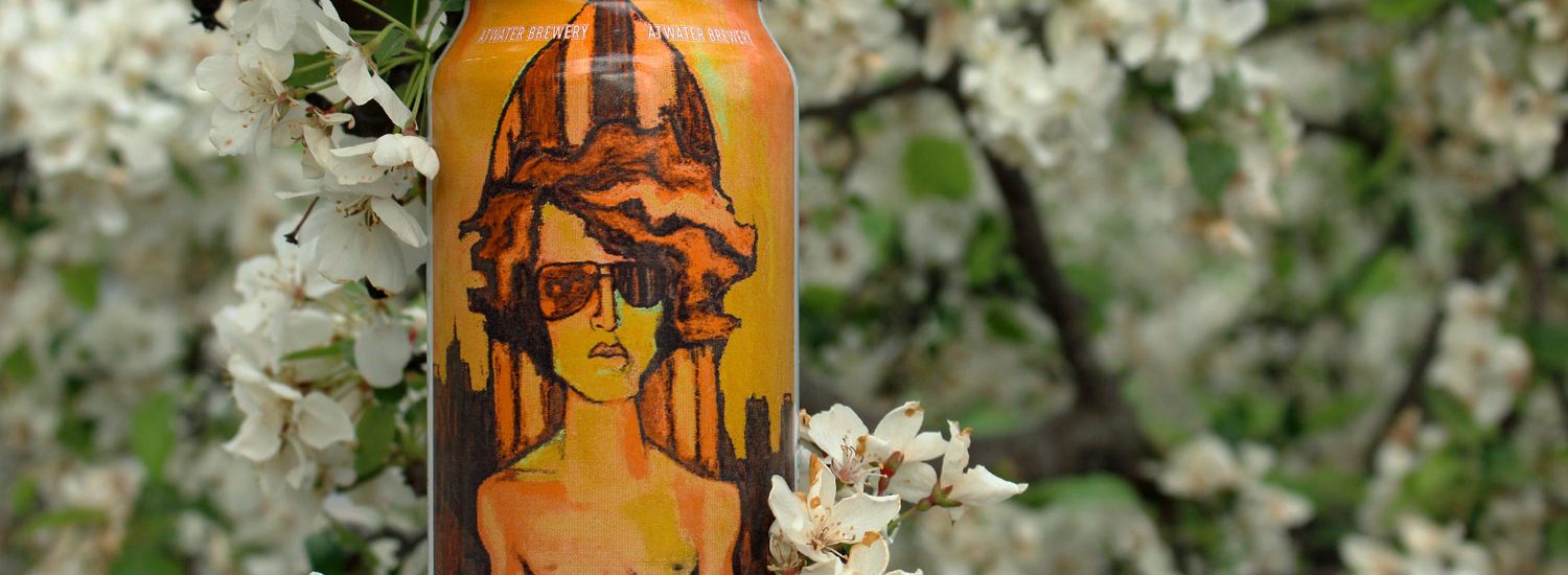 Atwater Whango summer mango wheat ale with cool surfer.