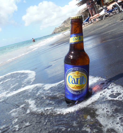 Carib Lager is perfect for the beach on any Caribbean island.