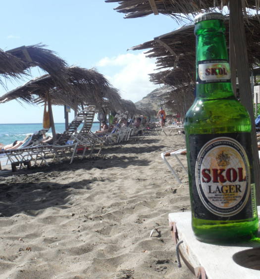 Find Skol Caribbean island beer on St. Kitts and Nevis beaches.