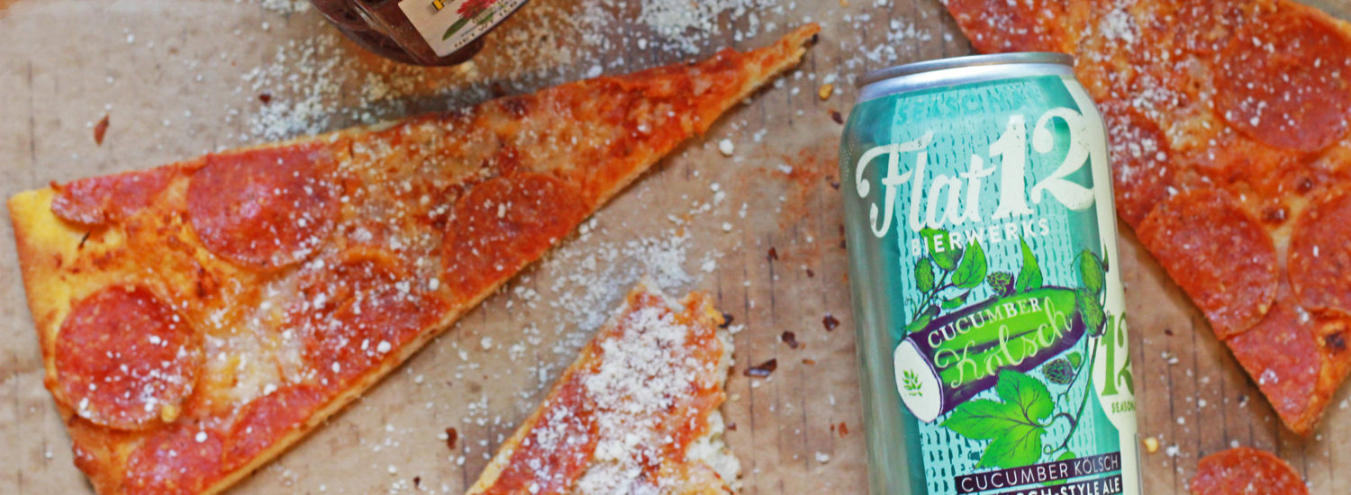 Enjoy Flat12 summer cucumber beer with pizza.