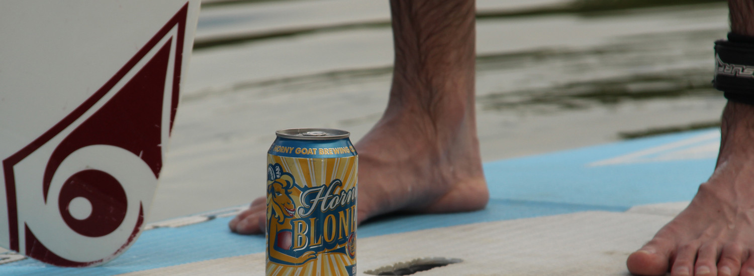 Horny Goat Blonde beer is great for summer paddle boarding.