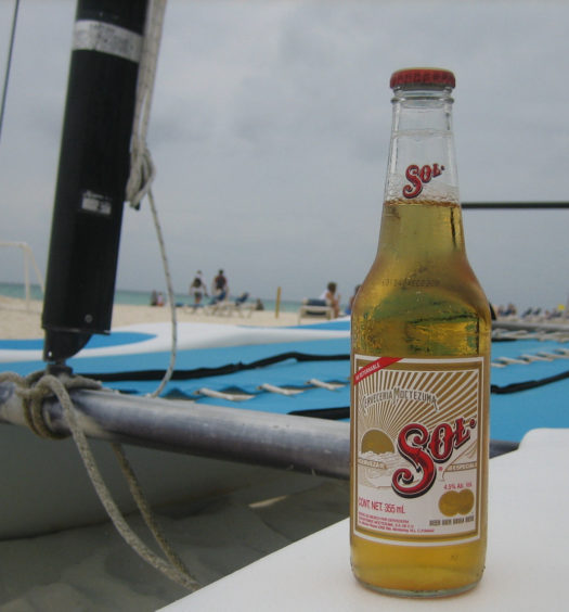 Sol Mexican lager beer is perfect for Cinco de Mayo or on the beach.