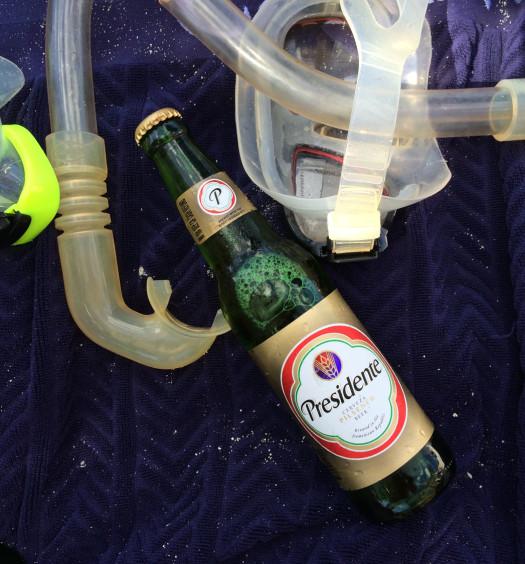Presidente Dominican beer on the Caribbean beach.