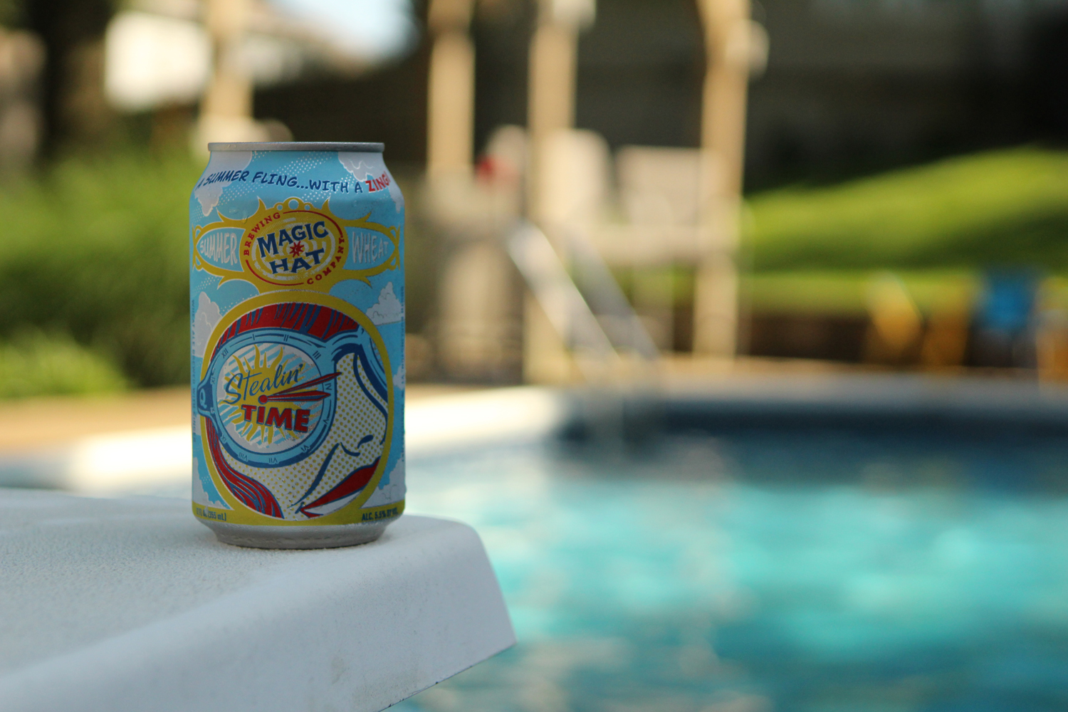 Stealin Time pale wheat summer pool beer is from Magic Hat Brewing.