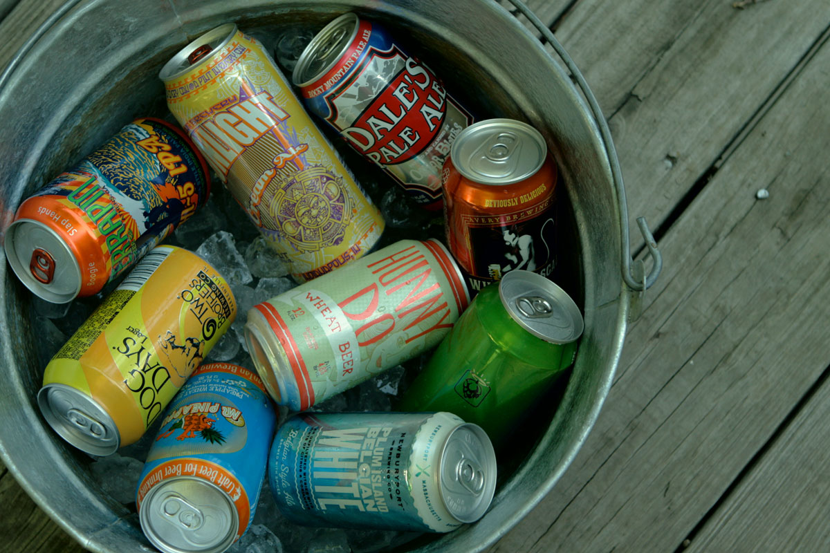Summer beer cans can are easily transported and recycled.
