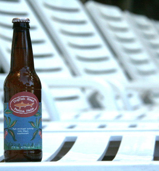 Enjoy a peach Berliner Weisse seasonal summer craft beer by the pool.