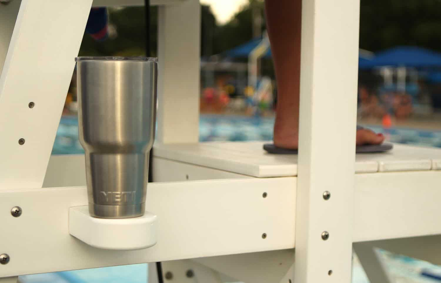 Yeti drink cooler Rambler Tumbler is perfect for cold water at the pool.